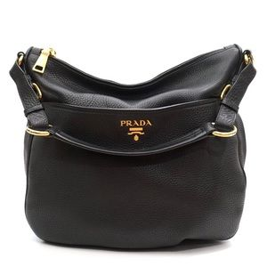 3ee5247cd85f Prada Vitello Black Leather Hobo Shoulder Bag